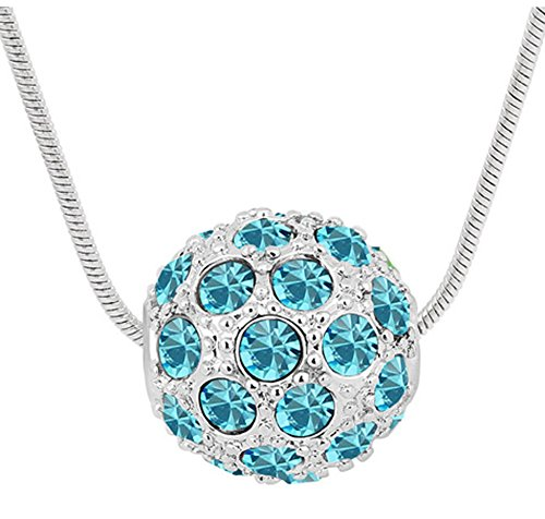 """Sojewe Silver tone Ball Shaped Pendant Necklace Blue Swarovski Elements Crystal 18"""" Chain for Women from Sojewe"""