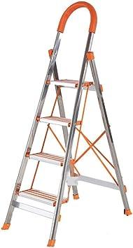 Escalera plegable Las escaleras de tijera de acero inoxidable, cuatro pasos construcción de escalera al aire