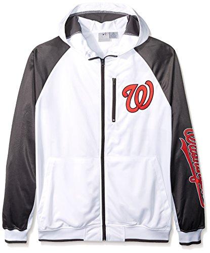 Profile Big & Tall MLB Washington Nationals Men's Full Zip Tricot Logo Sleeve Track Jacket with Wordmark, 3X, White/Charcoal