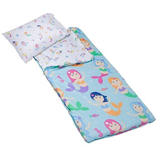 Wildkin Microfiber Sleeping Bag, Olive Kids Children's Microfiber Sleeping Bag with Matching Pillowcase and Storage Bag, Microfiber, Children Ages 5+ Years – Mermaids by Wildkin