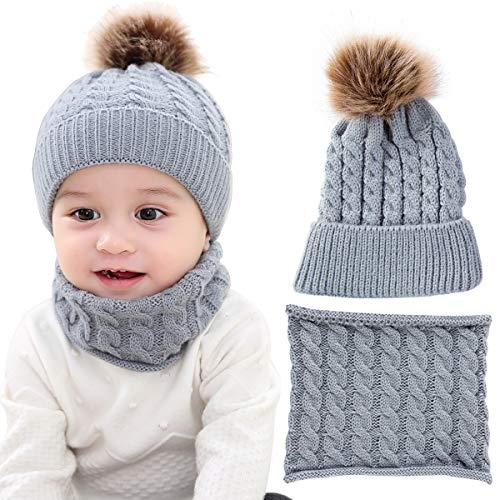 (Yinuoday 2PCS Toddler Baby Knit Hat Scarf Winter Warm Beanie Cap with Circle Loop Scarf Neckwarmer)