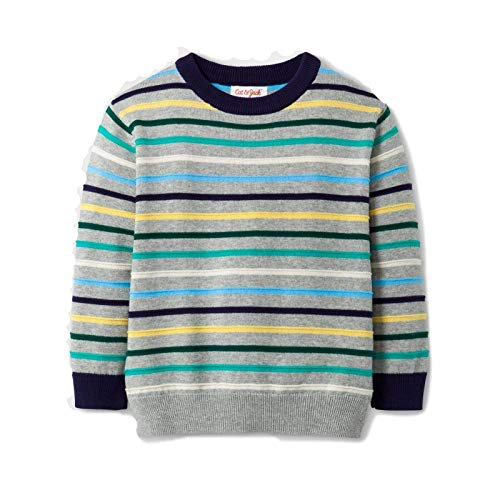 Cat & Jack Toddler Boys' Crew Neck Pullover Sweater Gray Multi Striped 18M from Cat & Jack