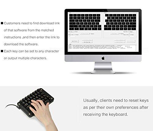 Koolertron Cherry MX Black Programmable Gaming Keypad, Mechanical Gaming Keyboard with 43 Programmable Keys, Single-Handed Keypad Macro Setting, Golden Backlit Can be Turned Off (Cherry MX Black)