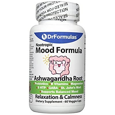 DrFormulas Mood Boost Probiotics with Stress B Complex Vitamins for Women, Teens Kids, Men | Nexabiotic Supplement with Ashwagandha Capsules, St Johns Wort, Serotonin 5 HTP, GABA for Anxiety, 60 Count