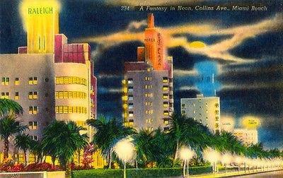 A Fantasy in Neon - Collins Ave - Miami Beach FL - Vintage Postcard - Beach Ave Collin Miami