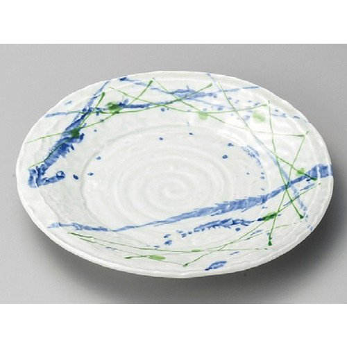 (Round plate Multipurpose Dish Plates, Pasta, Dessert, Bread, Appetizer Plate size [ 245 x 32mm ] Sand grain two color stamping dish Japanese dish plates traditional oriental asian)