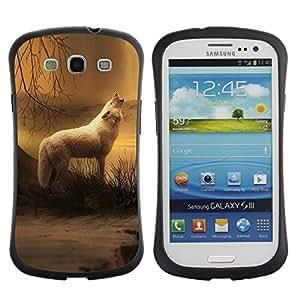 "Pulsar iFace Series Tpu silicona Carcasa Funda Case para SAMSUNG Galaxy S3 III / i9300 / i747 , White Wolf Bosque Noche Niebla Niebla Naturaleza Arte"""