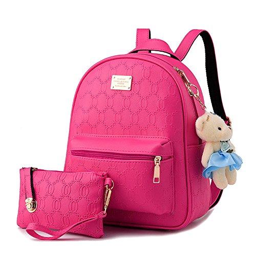 Damas en relieve Pu cuero mochila bolso de adolescentes Mochila de viaje Mochilas tipo casual Bolsas De Escuela Blanco Bolsos Mochila Rosa Oscuro Bolsos Mochila