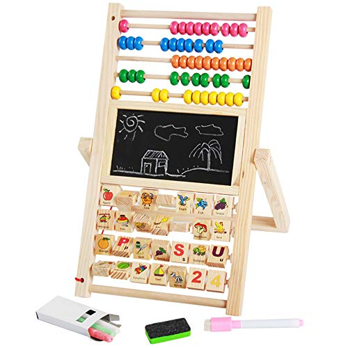 Kid's Art Easel Children's Wooden Double-sided Black And White Board Easel With Accessories Drawing And Abacus By Fun Educational Learning To Pretend To Play Games Toy Nursery And Infant Toddler ()