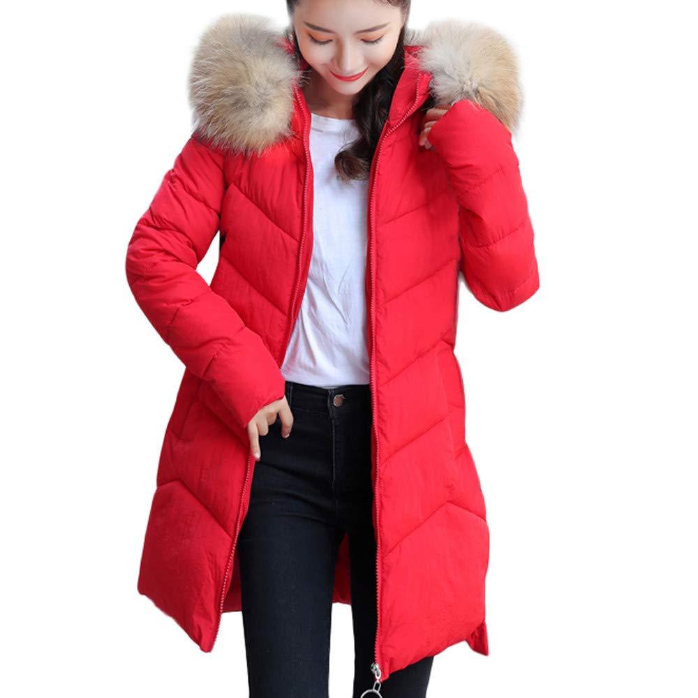 AMSKY Women Winter Warm Faux Fur Coat Hooded Thick Warm Slim Long Jacket Overcoat coat506