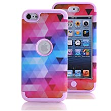 iPod Touch 6 Case, iPod Touch 5 Case, KAMII [Colorful Series] 3in1 Shockproof Full-Body Protective Hard PC+Soft Silicone Hybrid Hard Case Cover for Apple iPod Touch 5 6th Generation (Pink)