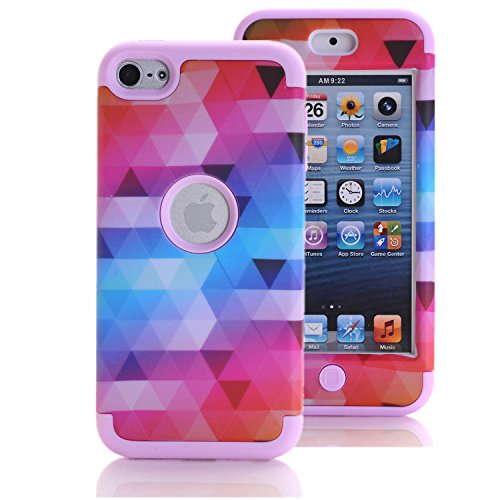 Price comparison product image iPod Touch 6 Case,  iPod Touch 5 Case,  KAMII [Colorful Series] 3in1 Shockproof Full-Body Protective Hard PC+Soft Silicone Hybrid Hard Case Cover for Apple iPod Touch 5 6th Generation (Pink)