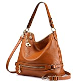 Genuine Leather Handbags for Women Large Designer Ladies Shoulder Bag Bucket Style [Brown ]