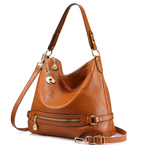 Genuine Leather Handbags for Women Large Designer Ladies Shoulder Bag Bucket Style [Brown - Medium Hobo Handbag Leather