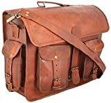 Messenger of Leather Vintage Leather Laptop Bag, Briefcase for Men & Women. 12'' x 16'' x 5''