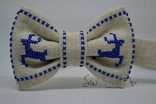 Baby bow tie - Christmas bow tie - Cross stitch bow tie - Blue reindeer - Toddler bow tie - Christmas - Christmas present