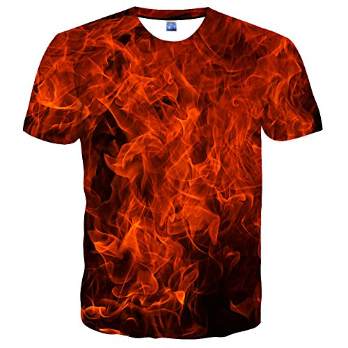 Neemanndy Unisex Red Fire Cool Graphics Casual 3D Printed T-Shirts Summer, (Fire Short Sleeve T-shirt)