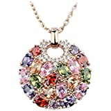 Morenitor[TM]Jewelry Necklace Rose Gold Plated Shinning Multi Color AAA Cubic Zirconia Inlaid Circle Pendant Necklace.
