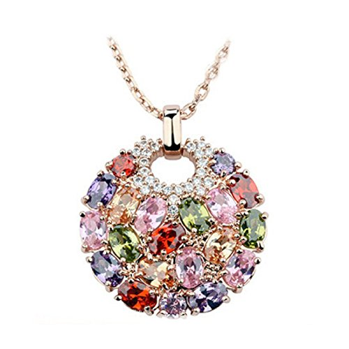 Inlaid Gold Plated Clasp (Morenitor[TM]Jewelry Necklace Rose Gold Plated Shinning Multi Color AAA Cubic Zirconia Inlaid Circle Pendant Necklace.)