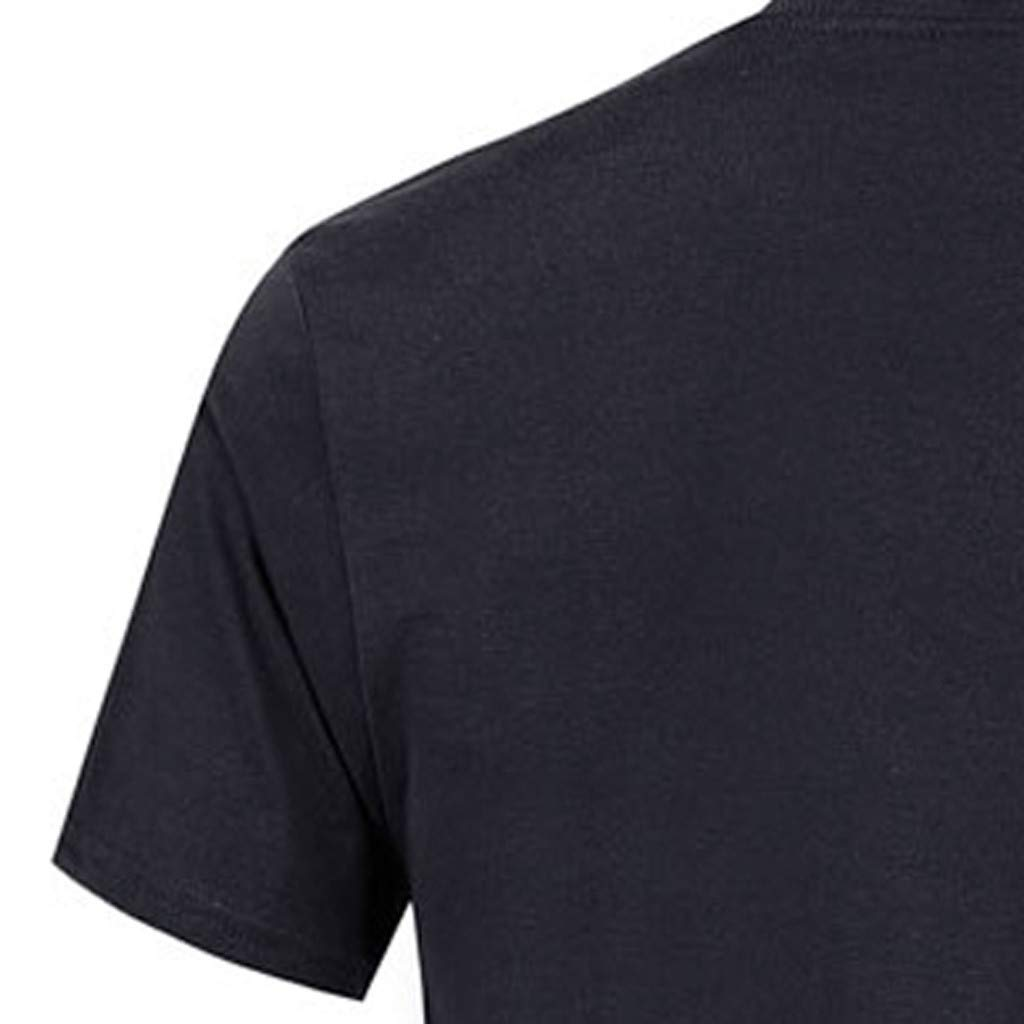 Allywit-Mens Spring Summer Casual Fashion Cute Printing O-Neck Short Sleeve Cotton T-Shirt Black by Allywit-Mens (Image #3)