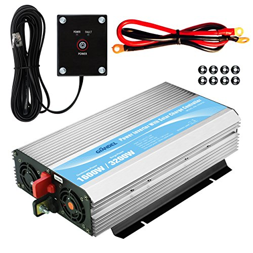 GIANDEL 1600W Power Inverter 24V DC to 120V AC with 20A Solar Charge Control and 2xAC 110-120V US Outlets and 1x2.4A USB and Remote Control by GIANDEL