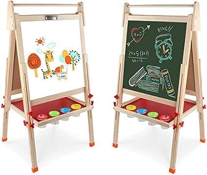 JOYOOSS 3 in 1 Kids Wooden Art Easel Double Sided Magnetic Dry Erase Board