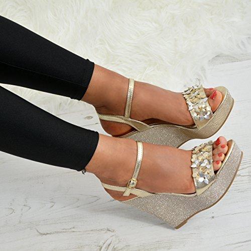 Cucu Fashion Ladies Womens Ankle Strap Glitter Wedge Platforms Flower Sandals Summer Shoes UK Gold SQdfTPxg