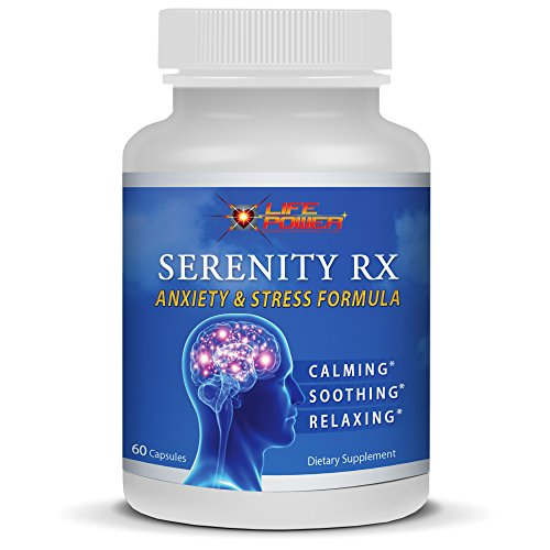 SERENITY RX- Anxiety & Stress Relief Formula By Life Power Labs. Rhodiola, Chamomile, St John's Wort, GABA, Valerian, 5-HTP & 10 Vitamins to Promote Natural Calm, Soothing & Relaxation. 60 Capsules. (Homeopathic Depression)