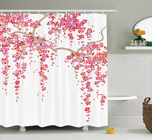 Ambesonne House Decor Collection, Cherry Blossom Trees Branch Springtime Happy Vacation Traveling Destinations Image, Polyester Fabric Bathroom Shower Curtain, 75 Inches Long, Lilac Salmon - Cherry Curtain Shower Blossom
