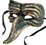 Ornate Zanni Mask Green & Gold Venetian Style Halloween Masquerade