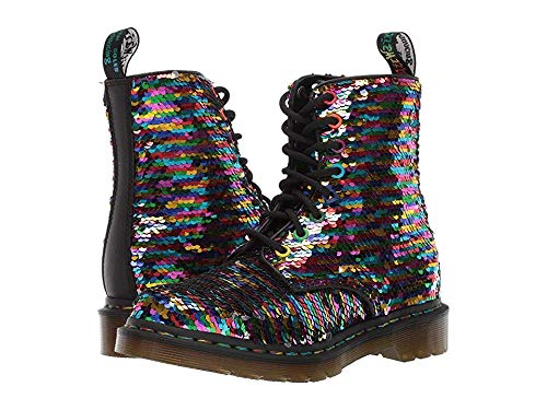 Dr. Martens Women's 1460 Pascal SEQN Fashion Boot, Rainbow Multi/Silver, 8 Medium UK (10 US)