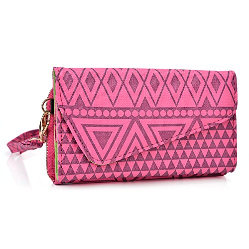 Lenovo IdeaPhone K900 SMARTPHONE UNIVERSAL WRISTLET CASE WITH CHAIN STRAP- UNIVERSAL FIT in rasberry pink WITH A FINISHED AZTEC PRINT