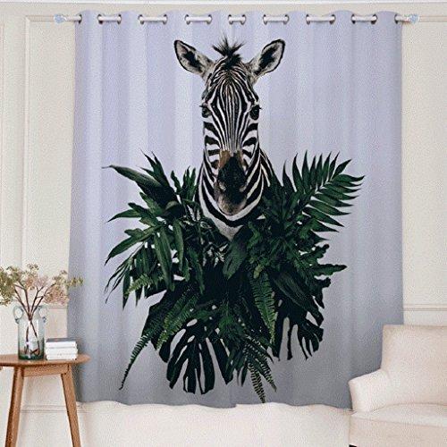 Artextile 3D Zebra Black and White Blackout Curtain Panels Decorative Window Treatment Drapes for Living Room Bedroom Decor, 2 Panel, 63Lx 106W Inch (Zebra White Panel Drape)
