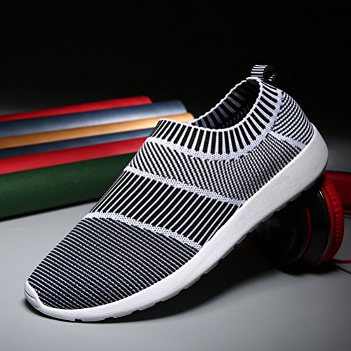 T&Mates Mens Slip-ONS Elastic Comfort Knitted Vamp Fashion Sneakers for Sport Walking Exerices Gray u1jV36