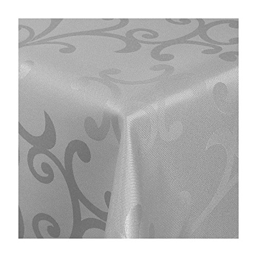 TEXMAXX Damast Tischdecke Maßanfertigung im Milano-Design in grau-silber 130x310 cm eckig,weitere Längen und Farben wählbar