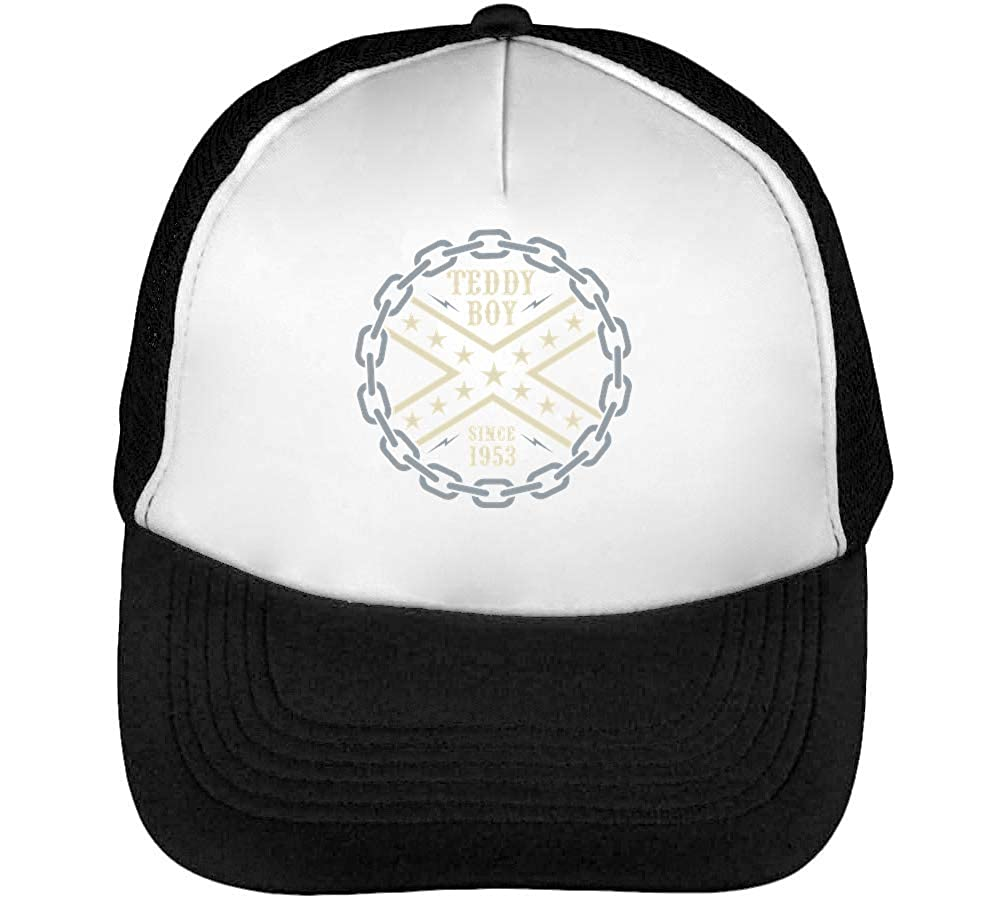 Rockabilly Mens Baseball Trucker Cap Hat Snapback Black White ...
