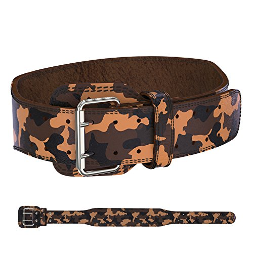 ProFitness Genuine Leather Tapered Workout Belt (4 Inches Wide) - Proper Weightlifting Form - Lower Back and Lumbar Support for Exercises, Powerlifting Workouts (Large, Camo)