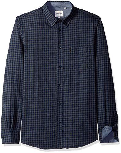 Ben Sherman Men's Longsleeve Mini Check Shirt, Concrete Marl, Large
