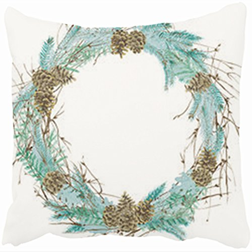 Custom Decorative Throw Pillows Covers Pine Cones Spruce Watercolor Wreath Hand Watercolor Floral 20 By 20 Inches Pillowcase Design Home Decor Sofa Cushion Pillow Cases