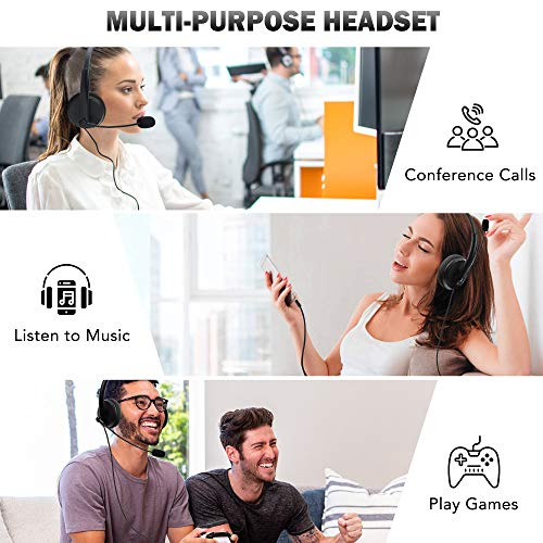 LotFancy USB Headset, Corded PC Headphone with Noise Cancelling Microphone, for Work, Conference Calls, Computer Chat, Call Centers, Gaming, Zoom Teams Google Meet Skype, Webinar, VOIP, 3.5mm / USB