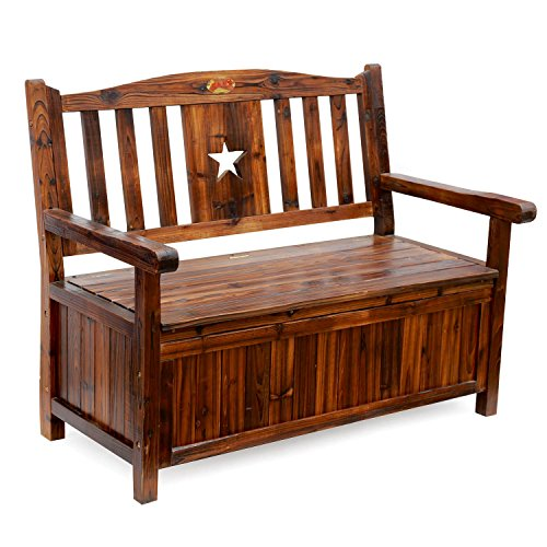 Songsen Wooden Storage Bench With Arm And Back Garden Storage Bench Chest Indoor Shoe Cabinet