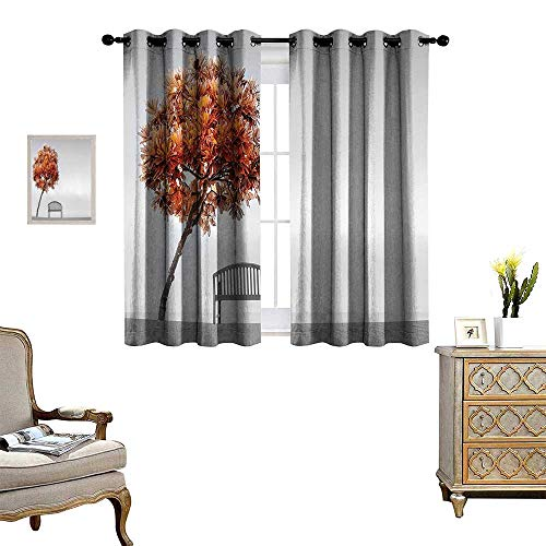 fengruihome Thermal Insulated Blackout Curtain Light Blocking Curtains for Living Room/Bedroom Pagoda Tree Bending Over Bench The Park Area Serene Land Away City -