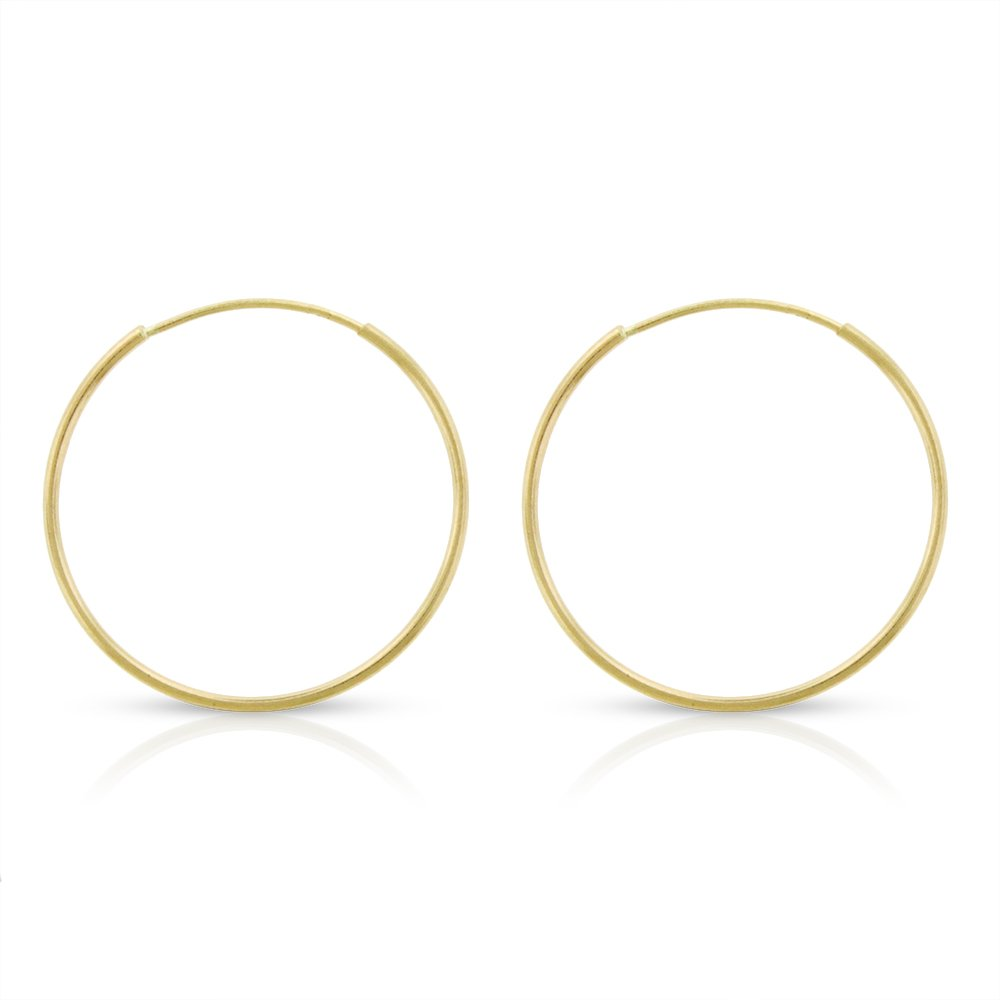 14k Yellow Gold Women's Endless Tube Hoop Earrings 1mm Thick 10mm - 20mm (18mm)