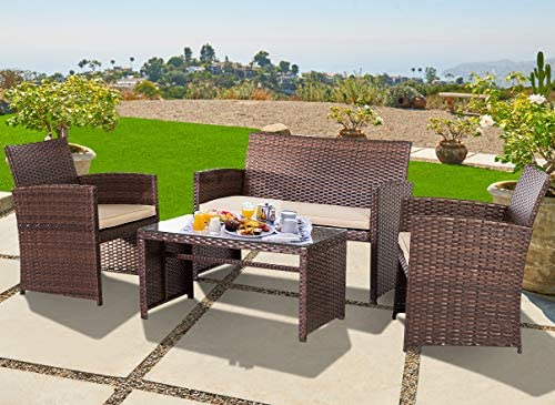 OUTROAD Outdoor Furniture 4 Piece Brown Wicker Patio Sofa Set – All Weather Cushioned Wicker Love Seat with Glass Top Table and Two Armchairs
