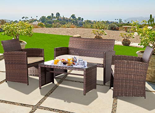 OUTROAD Outdoor Furniture 4 Piece Brown Wicker Patio Sofa Set – All Weather Cushioned Wick ...