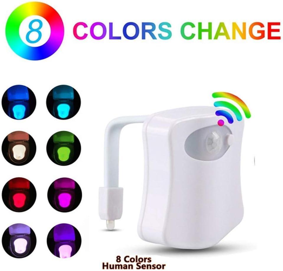 Luz Baño con Sensor de Movimiento super sensible | con 8 cambios de color | Wc Luz con eficiencia energetica Led A | Adaptable a cualquier inodoro: Amazon.es: Iluminación