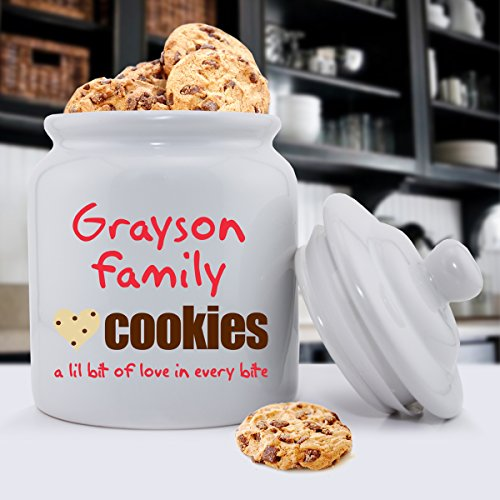 Personalized Family Cookies Ceramic Cookie Jar - Monogrammed Family Cookie Jar - Custom Cookie Jar - Personalized Cookie Jar