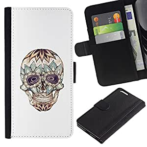 JackGot ( Floral Cráneo loco Muerte de tinta del tatuaje ) Apple (5.5 inches!!!) iPhone 6+ Plus / 6S+ Plus la tarjeta de Crédito Slots PU Funda de cuero Monedero caso cubierta de piel