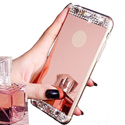 iPhone 6 Case ,LA GO GO(TM) Beauty Luxury Diamond Hybrid Glitter Bling Soft Shiny Sparkling with Glass Mirror Back Plate Cover Case for Apple iPhone 6 (4.7) - Retail Packaging (Rose Gold)