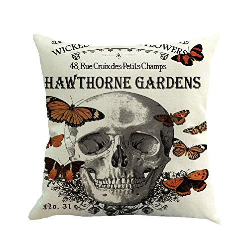 Happy Halloween Skull Pillow Covers 18 x 18 Inch Sofa Home Decor Throw Pillow Case Cushion Covers (D) -